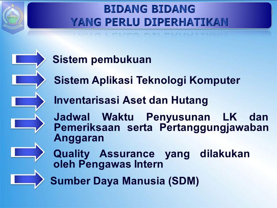 Sistem pembukuan Sistem Aplikasi Teknologi Komputer Inventarisasi Aset dan Hutang Jadwal Waktu Penyusunan LK dan Pemeriksaan serta Pertanggungjawaban Anggaran Quality Assurance yang dilakukan oleh Pengawas Intern Sumber Daya Manusia (SDM)
