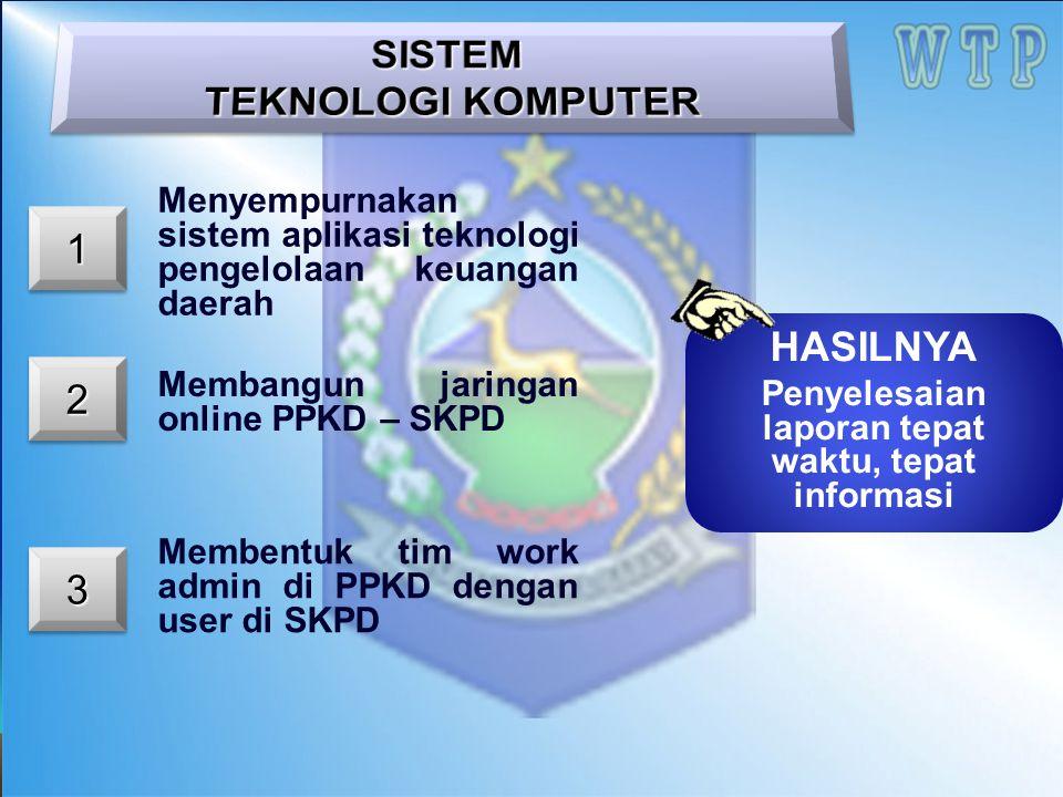 11 22 Menyempurnakan sistem aplikasi teknologi pengelolaan keuangan daerah Membangun jaringan online PPKD – SKPD Membentuk tim work admin di PPKD deng