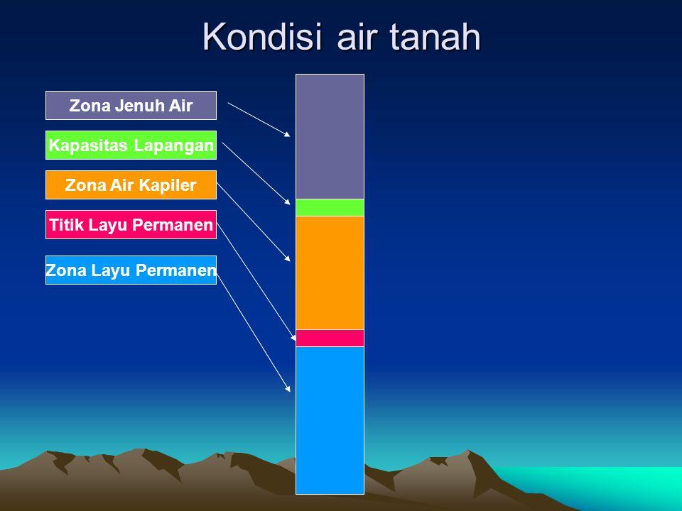 Kondisi air tanah Zona Jenuh Air Kapasitas Lapangan Zona Air Kapiler Titik Layu Permanen Zona Layu Permanen