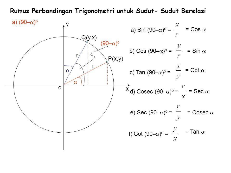 Rumus Perbandingan Trigonometri untuk Sudut- Sudut Berelasi x y b) (90+  ) o r o  Q(–y,x) = Cos  = –Sin  = –Cot  = Sec  = –Cosec  = –Tan   P(x,y) r a) Sin (90+  ) o = b) Cos (90+  ) o = c) Tan (90+  ) o = d) Cosec (90+  ) o = e) Sec (90+  ) o = f) Cot (90+  ) o = (90+  ) o