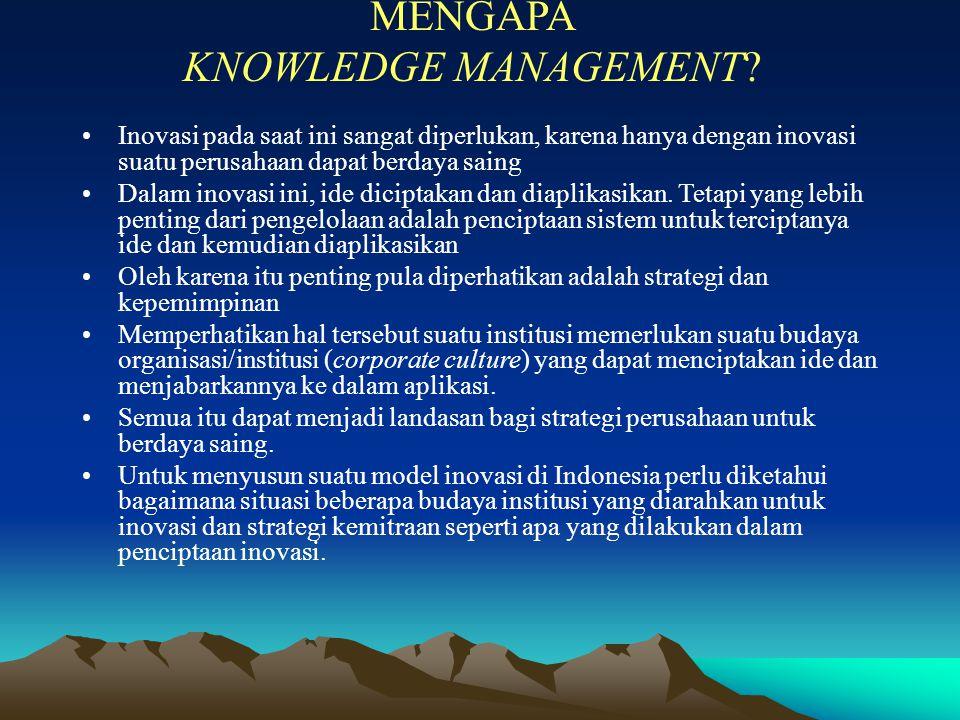 MENGAPA KNOWLEDGE MANAGEMENT? Inovasi pada saat ini sangat diperlukan, karena hanya dengan inovasi suatu perusahaan dapat berdaya saing Dalam inovasi