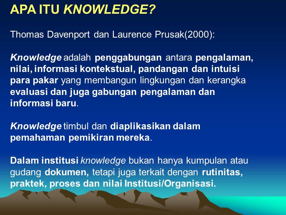 APA ITU KNOWLEDGE? Thomas Davenport dan Laurence Prusak(2000): Knowledge adalah penggabungan antara pengalaman, nilai, informasi kontekstual, pandanga