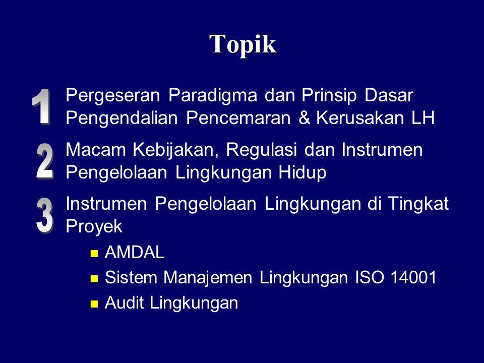 Topik Pergeseran Paradigma dan Prinsip Dasar Pengendalian Pencemaran & Kerusakan LH Macam Kebijakan, Regulasi dan Instrumen Pengelolaan Lingkungan Hidup Instrumen Pengelolaan Lingkungan di Tingkat Proyek n AMDAL n Sistem Manajemen Lingkungan ISO 14001 n Audit Lingkungan