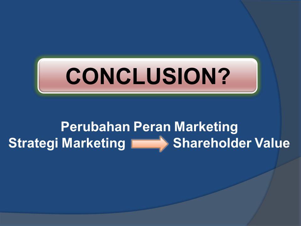 CONCLUSION? Perubahan Peran Marketing Strategi Marketing Shareholder Value