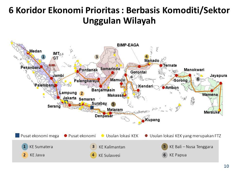 1 KE Sumatera 2 KE Jawa 5 KE Bali – Nusa Tenggara 6 KE Papua 3 KE Kalimantan 4 KE Sulawesi Denpasar Mataram Jakarta Medan Pekanbaru Jambi Palembang La