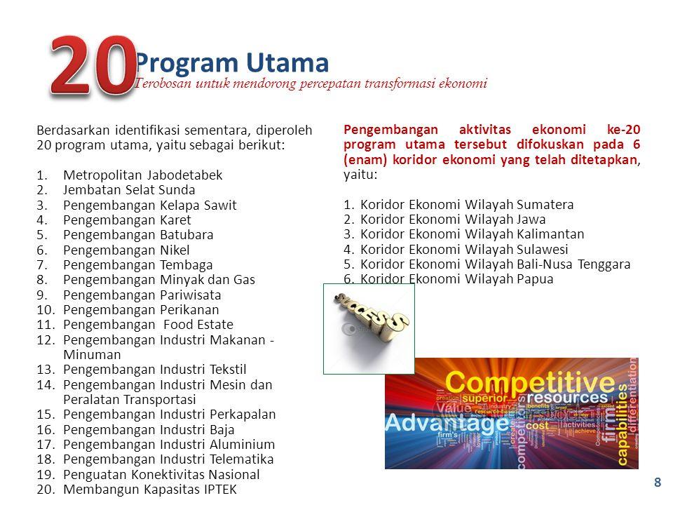 Pengembangan aktivitas ekonomi ke-20 program utama tersebut difokuskan pada 6 (enam) koridor ekonomi yang telah ditetapkan, yaitu: 1.Koridor Ekonomi W