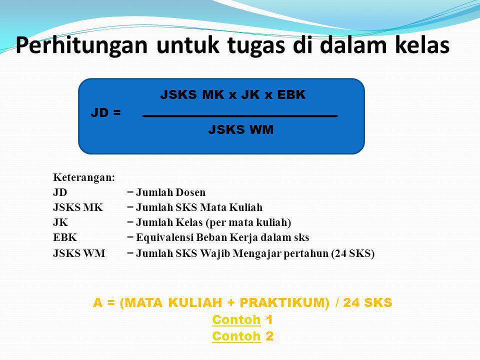 Perhitungan untuk tugas di dalam kelas JSKS MK x JK x EBK JD = JSKS WM Keterangan: JD= Jumlah Dosen JSKS MK = Jumlah SKS Mata Kuliah JK= Jumlah Kelas