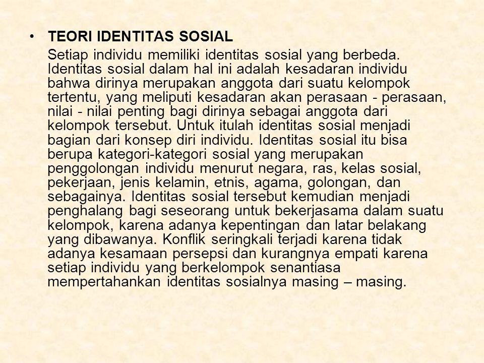 TEORI IDENTITAS SOSIAL Setiap individu memiliki identitas sosial yang berbeda.