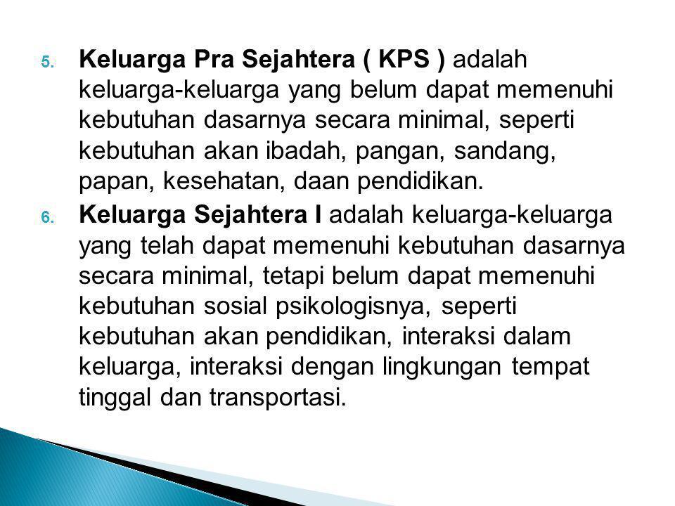 5. Keluarga Pra Sejahtera ( KPS ) adalah keluarga-keluarga yang belum dapat memenuhi kebutuhan dasarnya secara minimal, seperti kebutuhan akan ibadah,