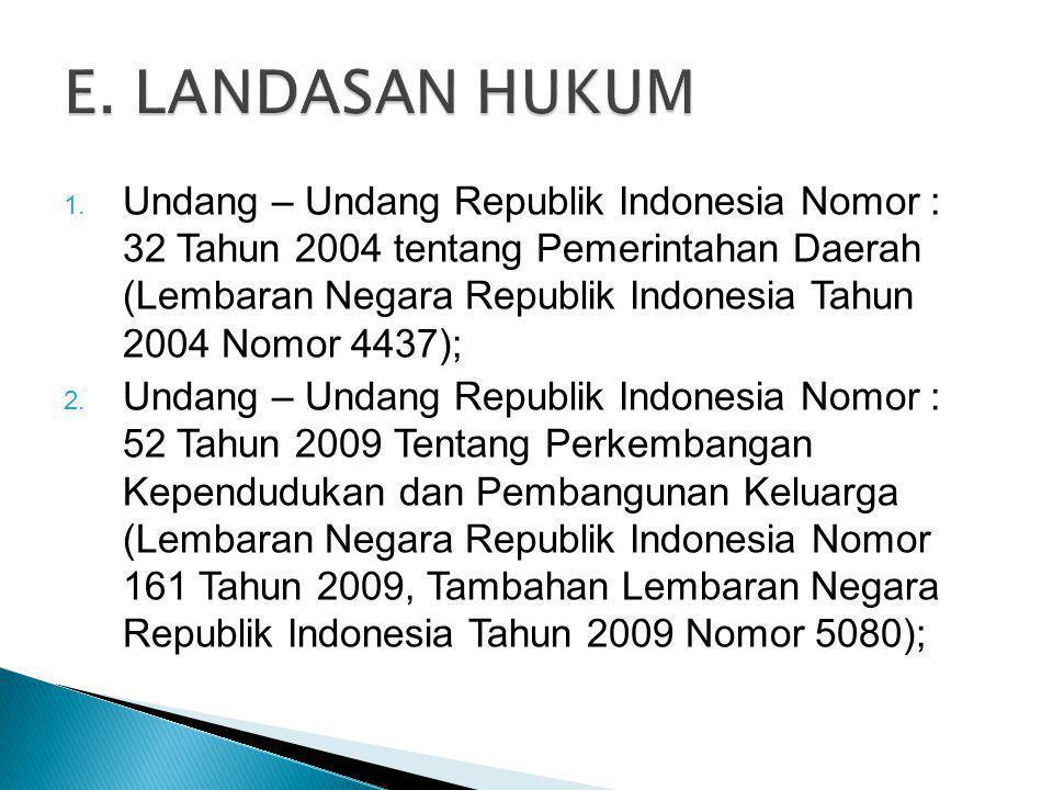 1. Undang – Undang Republik Indonesia Nomor : 32 Tahun 2004 tentang Pemerintahan Daerah (Lembaran Negara Republik Indonesia Tahun 2004 Nomor 4437); 2.
