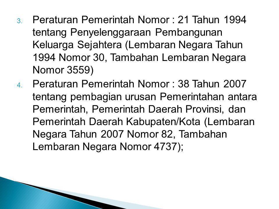 3. Peraturan Pemerintah Nomor : 21 Tahun 1994 tentang Penyelenggaraan Pembangunan Keluarga Sejahtera (Lembaran Negara Tahun 1994 Nomor 30, Tambahan Le