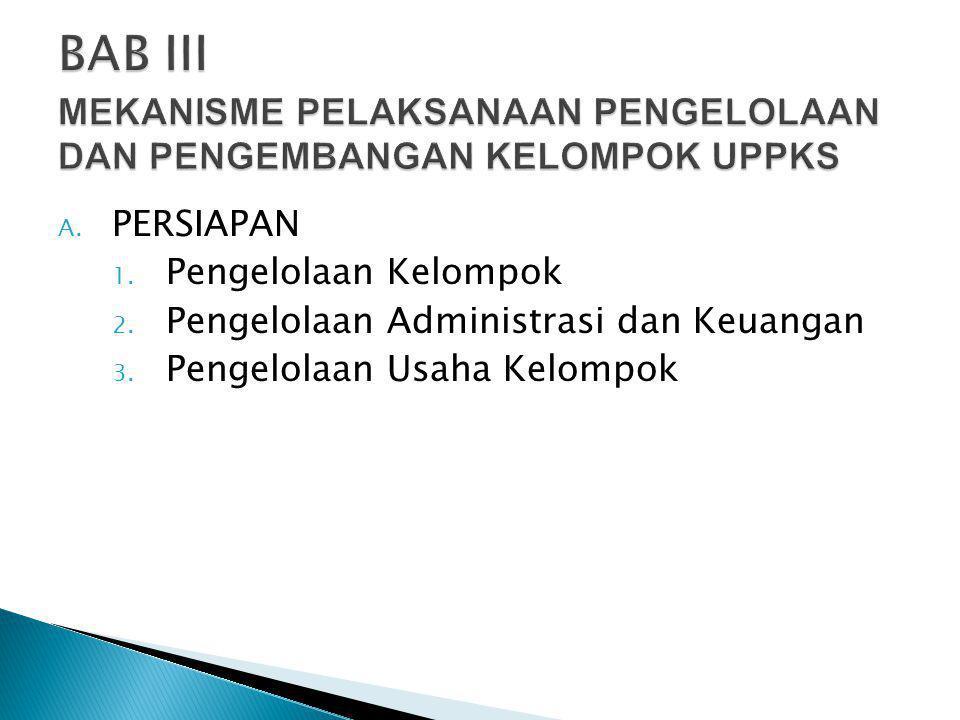A. PERSIAPAN 1. Pengelolaan Kelompok 2. Pengelolaan Administrasi dan Keuangan 3. Pengelolaan Usaha Kelompok
