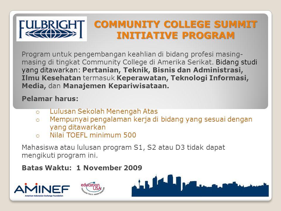 Program untuk pengembangan keahlian di bidang profesi masing- masing di tingkat Community College di Amerika Serikat.