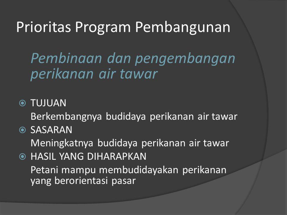 Prioritas Program Pembangunan Pembinaan dan pengembangan perikanan air tawar  TUJUAN Berkembangnya budidaya perikanan air tawar  SASARAN Meningkatnya budidaya perikanan air tawar  HASIL YANG DIHARAPKAN Petani mampu membudidayakan perikanan yang berorientasi pasar