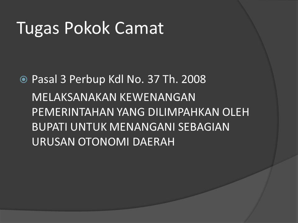 Tugas Pokok Camat  Pasal 3 Perbup Kdl No.37 Th.