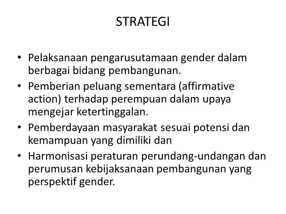 STRATEGI Pelaksanaan pengarusutamaan gender dalam berbagai bidang pembangunan.