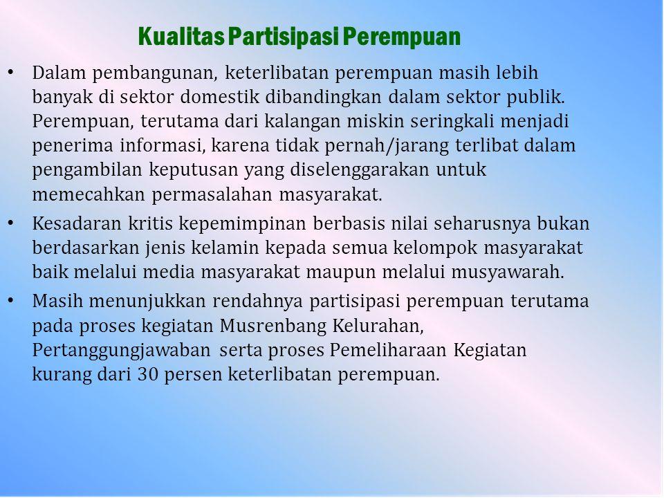 Hal - hal yang harus dicermati : Dalam upaya pemberdayaan perempuan, sesuai dengan makna pengarusutamaan gender, maka para laki-laki di desa/kelurahan juga harus diberikan pengertian dan diberikan penyadaran tentang pentingnya kesetaraan antara laki-laki dan perempuan, agar tidak terjadi bias gender.