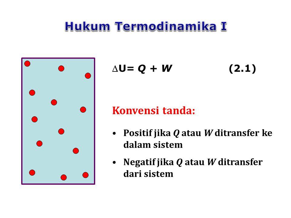 9 Untuk sistem tertutup yang mengalami proses yang hanya menyebabkan perubahan internal energinya:  U t = Q + W Untuk perubahan yang sangat kecil: dU t =  Q +  W (2.2) (2.3)