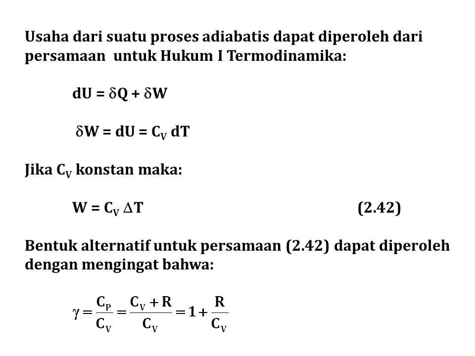 Usaha dari suatu proses adiabatis dapat diperoleh dari persamaan untuk Hukum I Termodinamika: dU =  Q +  W  W = dU = C V dT Jika C V konstan maka: