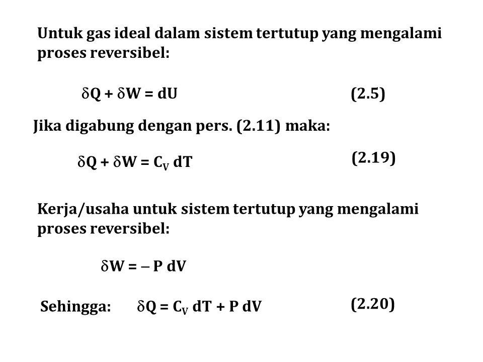 Untuk gas ideal dalam sistem tertutup yang mengalami proses reversibel:  Q +  W = dU Kerja/usaha untuk sistem tertutup yang mengalami proses reversi