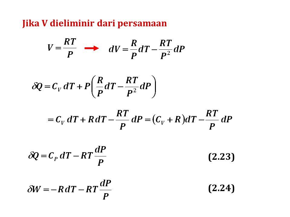 (a) Proses adiabatis Q = 0  U = W = C V  T = (12,471) (423 – 343) = 998 J/mol  H = C P  T = (20,785) (423 – 343) = 1.663 J/mol Tekanan P 2 dapat dihitung: (b) Proses isobaris Q =  H = C P  T = (20,785) (343 – 423) = – 1.663 J/mol  U = C V  T = (12,471) (343 – 423) = – 998 J/mol W =  U – Q = – 998 – (– 1.663) = 665 J/mol