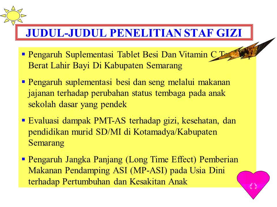 JUDUL-JUDUL PENELITIAN STAF GIZI  Pengaruh Suplementasi Tablet Besi Dan Vitamin C Terhadap Berat Lahir Bayi Di Kabupaten Semarang  Pengaruh suplemen
