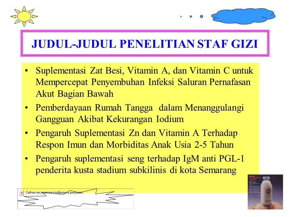 JUDUL-JUDUL PENELITIAN STAF GIZI Suplementasi Zat Besi, Vitamin A, dan Vitamin C untuk Mempercepat Penyembuhan Infeksi Saluran Pernafasan Akut Bagian