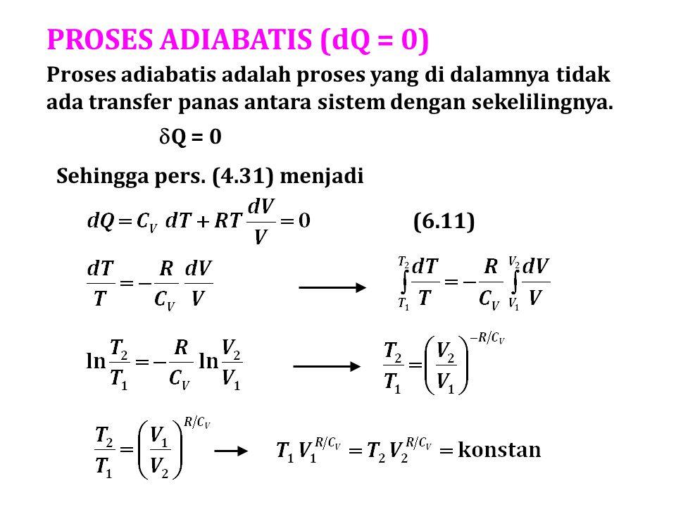 PROSES ADIABATIS (dQ = 0) Proses adiabatis adalah proses yang di dalamnya tidak ada transfer panas antara sistem dengan sekelilingnya.  Q = 0 Sehingg