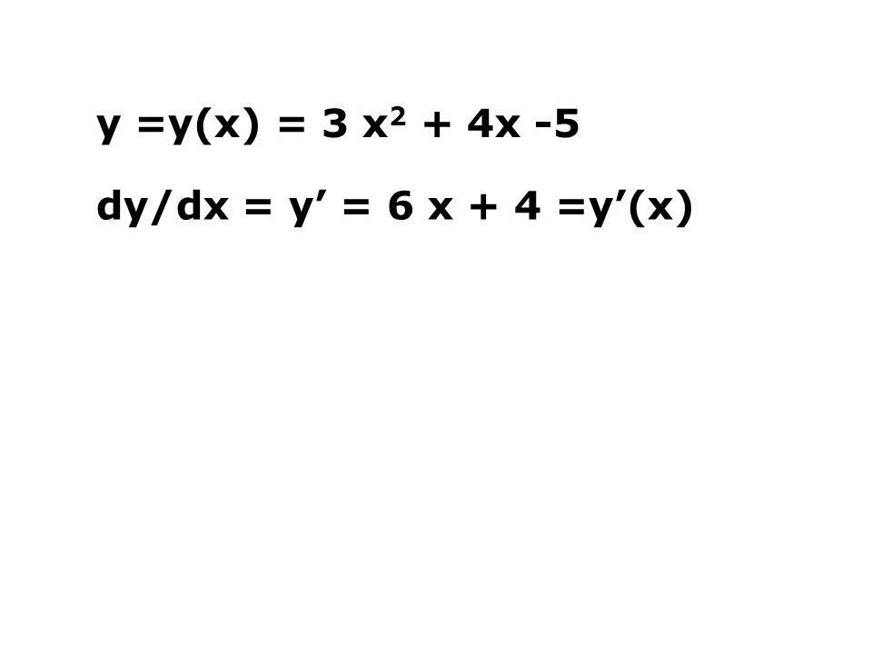 y =y(x) = 3 x 2 + 4x -5 dy/dx = y' = 6 x + 4 =y'(x)