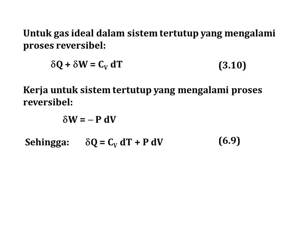 Untuk gas ideal dalam sistem tertutup yang mengalami proses reversibel:  Q +  W = C V dT Kerja untuk sistem tertutup yang mengalami proses reversibe
