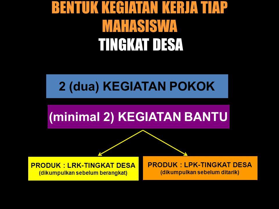 BENTUK KEGIATAN KERJA TIAP MAHASISWA TINGKAT DESA 2 (dua) KEGIATAN POKOK (minimal 2) KEGIATAN BANTU PRODUK : LRK-TINGKAT DESA (dikumpulkan sebelum berangkat) PRODUK : LPK-TINGKAT DESA (dikumpulkan sebelum ditarik)