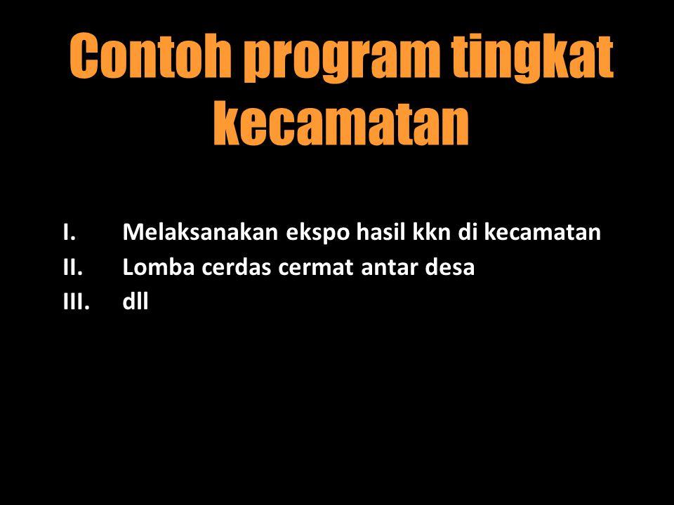 Contoh program tingkat kecamatan I.Melaksanakan ekspo hasil kkn di kecamatan II.Lomba cerdas cermat antar desa III.dll