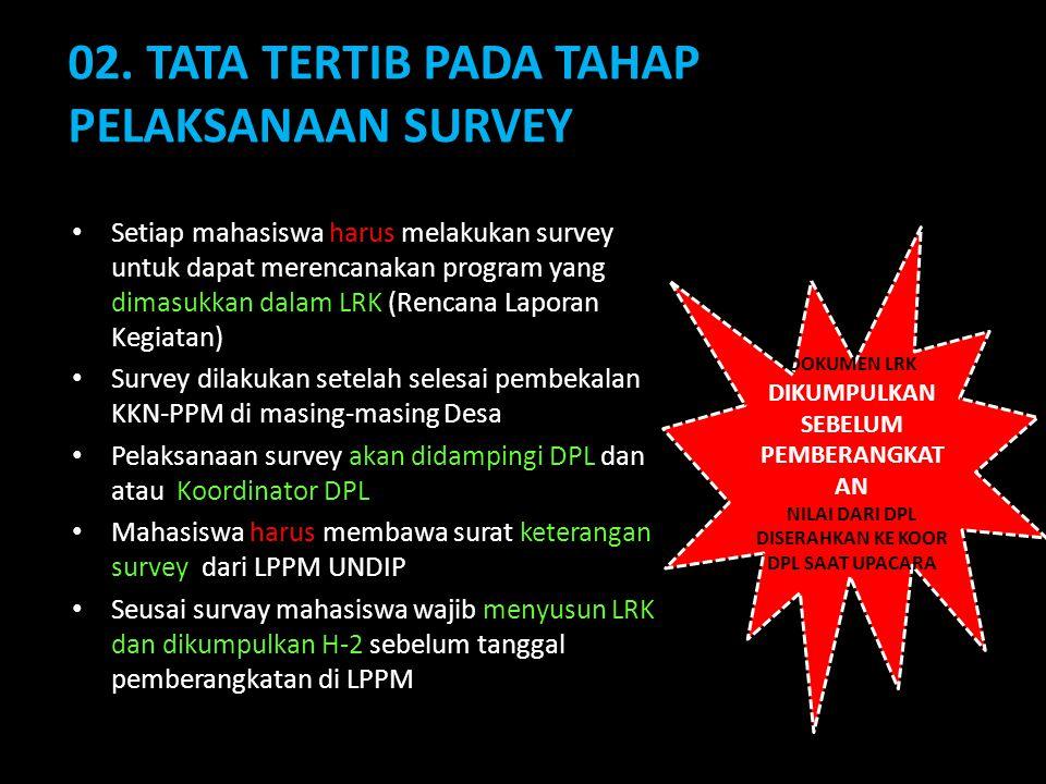 02. TATA TERTIB PADA TAHAP PELAKSANAAN SURVEY Setiap mahasiswa harus melakukan survey untuk dapat merencanakan program yang dimasukkan dalam LRK (Renc