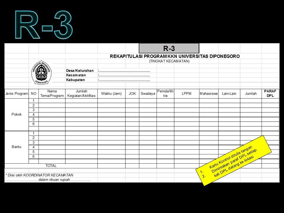 KARTU KONTROL – FORM R3 1.Kartu Kontrol ditulis tangan 2.Dimintakan paraf DPL setiap kali DPL datang ke lokasi