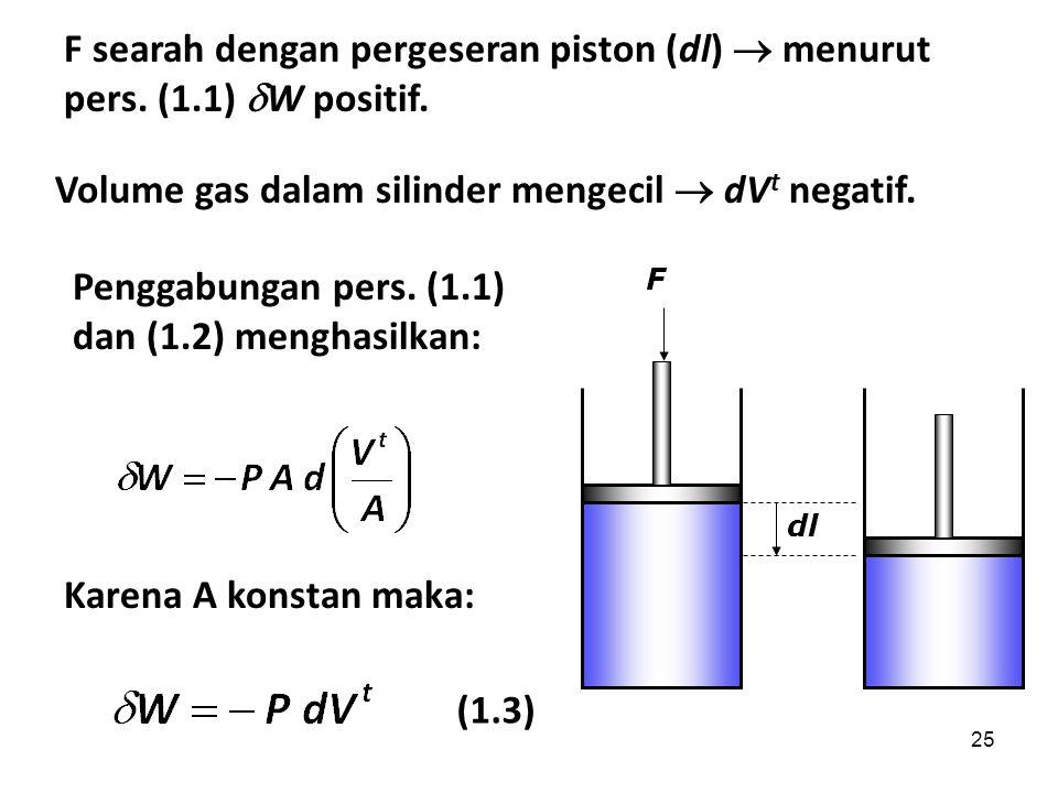 25 F searah dengan pergeseran piston (dl)  menurut pers. (1.1)  W positif. Volume gas dalam silinder mengecil  dV t negatif. Penggabungan pers. (1.