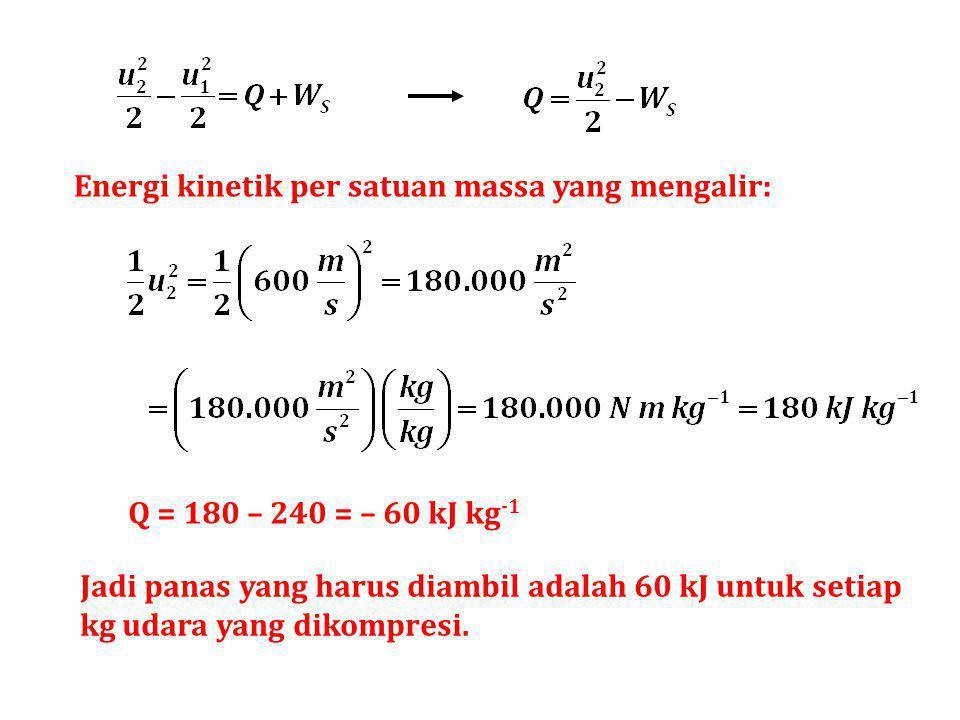 Energi kinetik per satuan massa yang mengalir: Q = 180 – 240 = – 60 kJ kg -1 Jadi panas yang harus diambil adalah 60 kJ untuk setiap kg udara yang dik