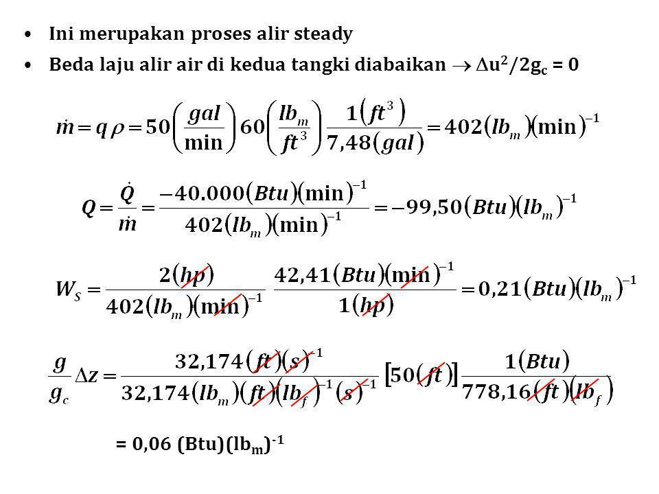 Ini merupakan proses alir steady Beda laju alir air di kedua tangki diabaikan   u 2 /2g c = 0 = 0,06 (Btu)(lb m ) -1