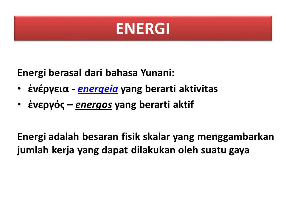 ENERGI Energi berasal dari bahasa Yunani: ἐνέργεια - energeia yang berarti aktivitasenergeia ἐνεργός – energos yang berarti aktif Energi adalah besara
