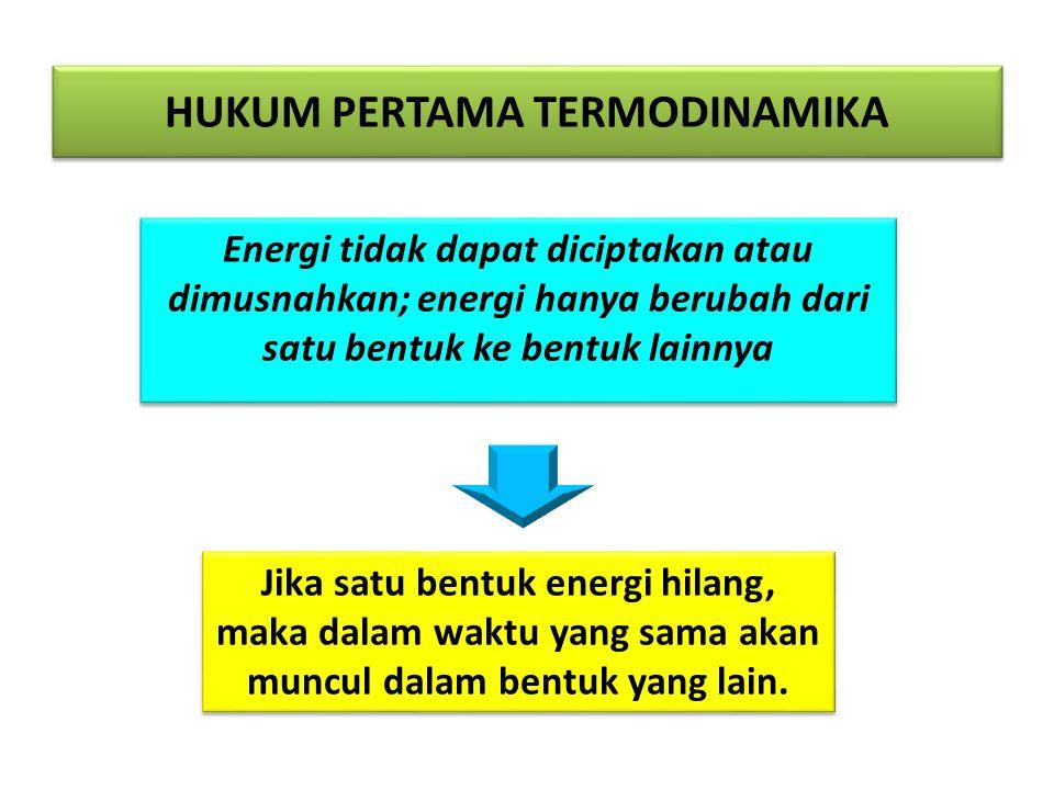 HUKUM PERTAMA TERMODINAMIKA Energi tidak dapat diciptakan atau dimusnahkan; energi hanya berubah dari satu bentuk ke bentuk lainnya Jika satu bentuk e