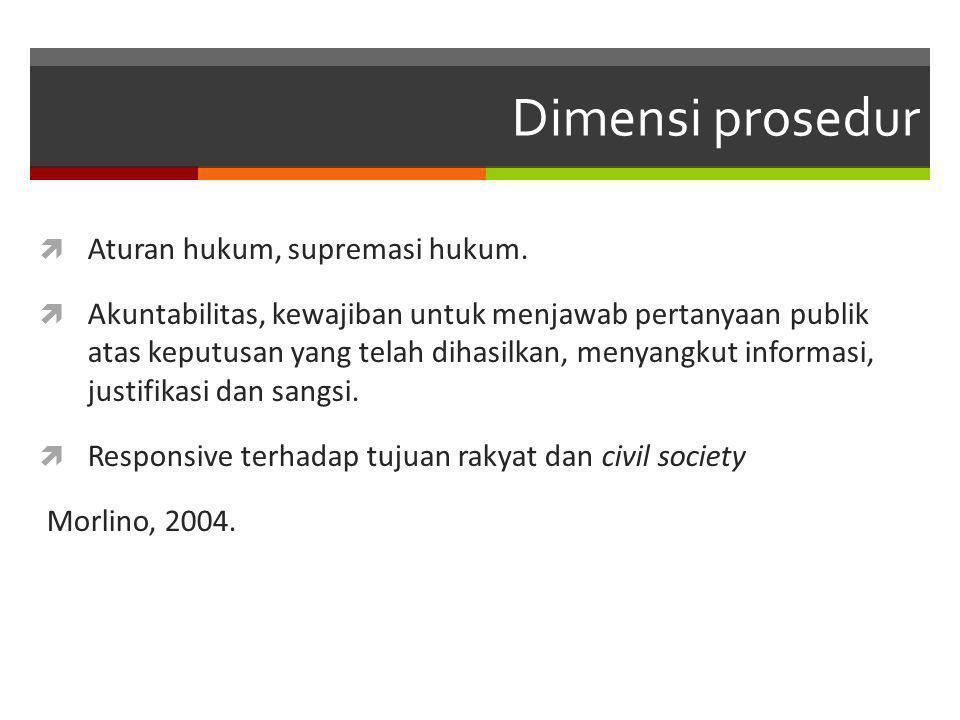 Dimensi prosedur  Aturan hukum, supremasi hukum.  Akuntabilitas, kewajiban untuk menjawab pertanyaan publik atas keputusan yang telah dihasilkan, me