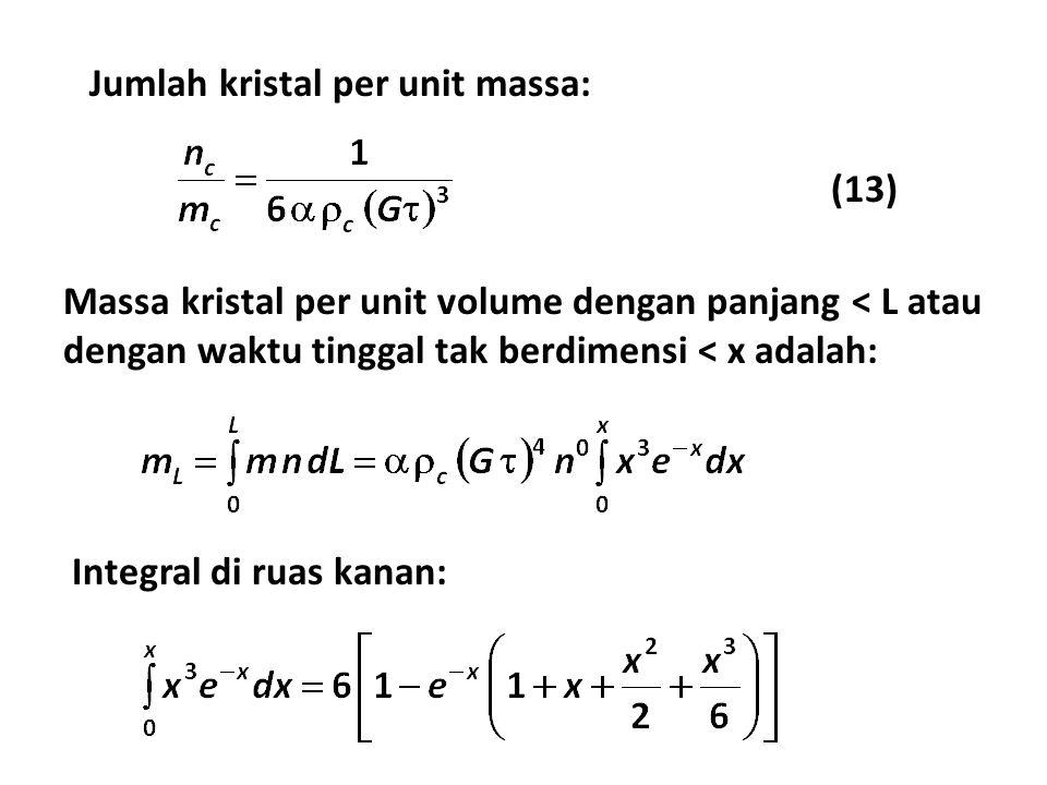 Jumlah kristal per unit massa: (13) Massa kristal per unit volume dengan panjang < L atau dengan waktu tinggal tak berdimensi < x adalah: Integral di