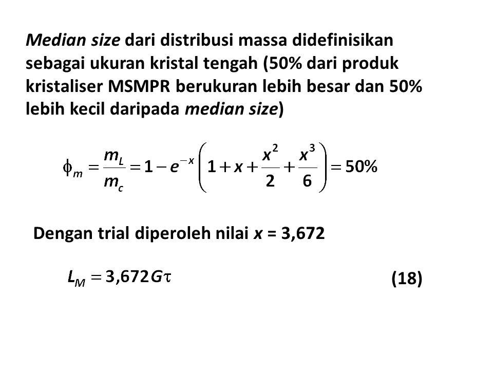 Median size dari distribusi massa didefinisikan sebagai ukuran kristal tengah (50% dari produk kristaliser MSMPR berukuran lebih besar dan 50% lebih k