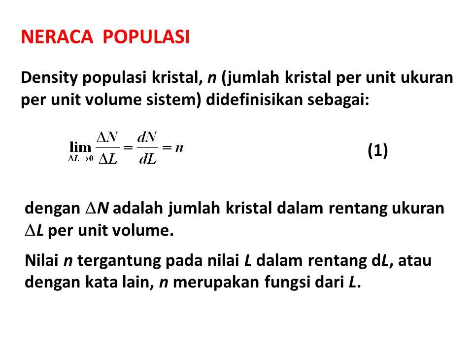 NERACA POPULASI Density populasi kristal, n (jumlah kristal per unit ukuran per unit volume sistem) didefinisikan sebagai: dengan  N adalah jumlah kr