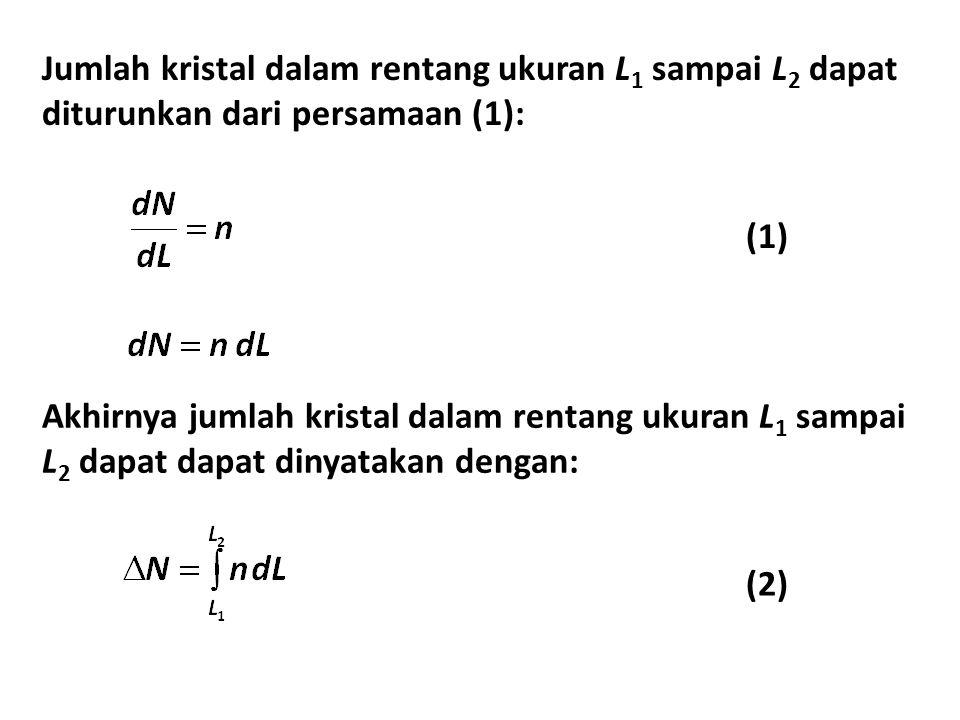 Jumlah kristal dalam rentang ukuran L 1 sampai L 2 dapat diturunkan dari persamaan (1): (2) (1) Akhirnya jumlah kristal dalam rentang ukuran L 1 sampa