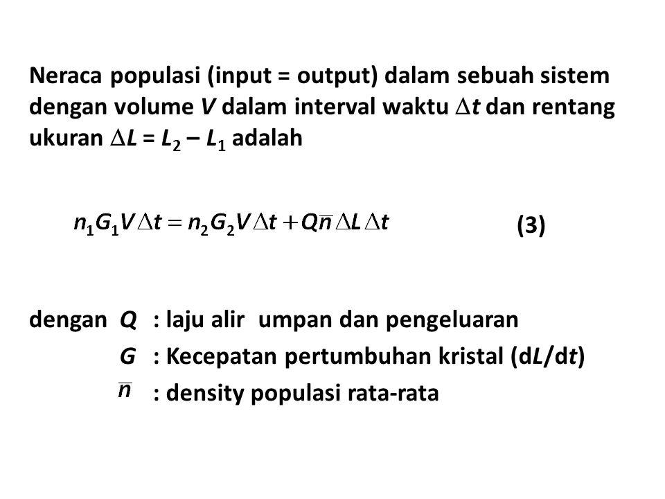 Neraca populasi (input = output) dalam sebuah sistem dengan volume V dalam interval waktu  t dan rentang ukuran  L = L 2 – L 1 adalah denganQ: laju