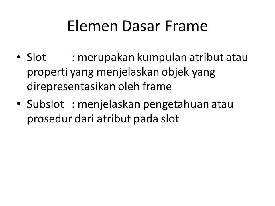 Elemen Dasar Frame Slot: merupakan kumpulan atribut atau properti yang menjelaskan objek yang direpresentasikan oleh frame Subslot : menjelaskan penge