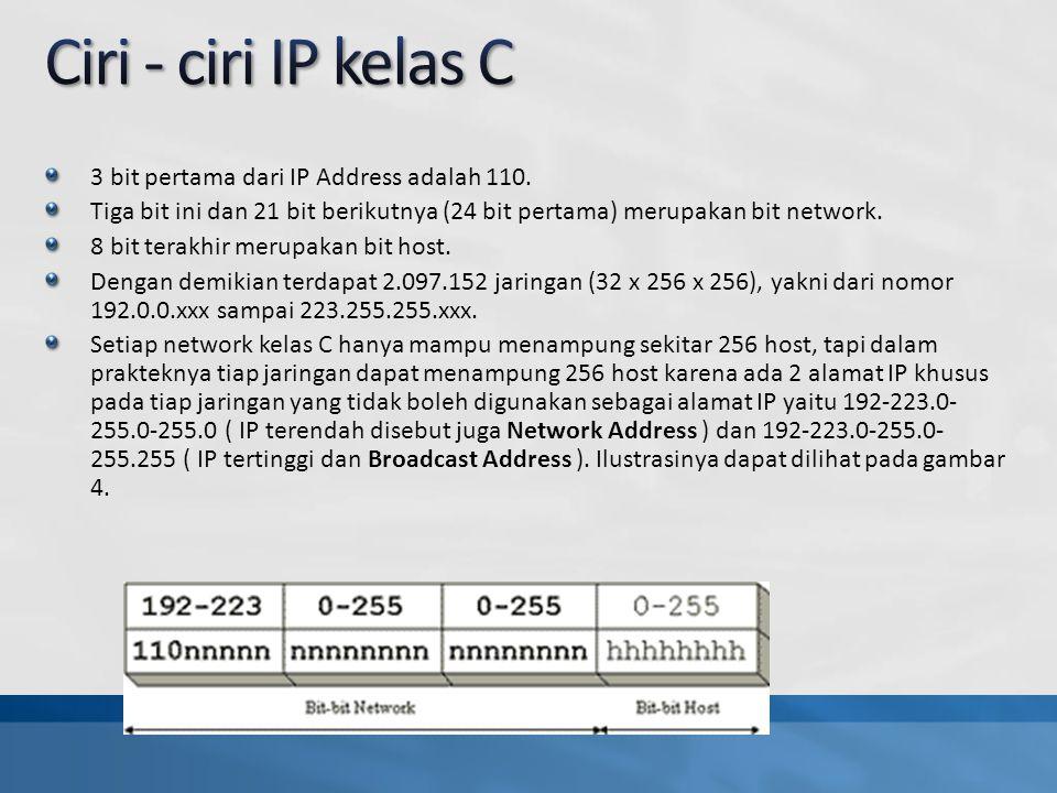 3 bit pertama dari IP Address adalah 110.