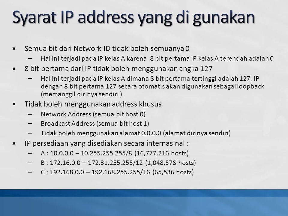 Semua bit dari Network ID tidak boleh semuanya 0 –Hal ini terjadi pada IP kelas A karena 8 bit pertama IP kelas A terendah adalah 0 8 bit pertama dari IP tidak boleh menggunakan angka 127 –Hal ini terjadi pada IP kelas A dimana 8 bit pertama tertinggi adalah 127.