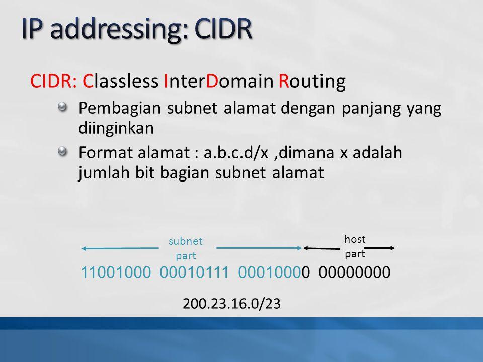 CIDR: Classless InterDomain Routing Pembagian subnet alamat dengan panjang yang diinginkan Format alamat : a.b.c.d/x,dimana x adalah jumlah bit bagian subnet alamat 11001000 00010111 00010000 00000000 subnet part host part 200.23.16.0/23