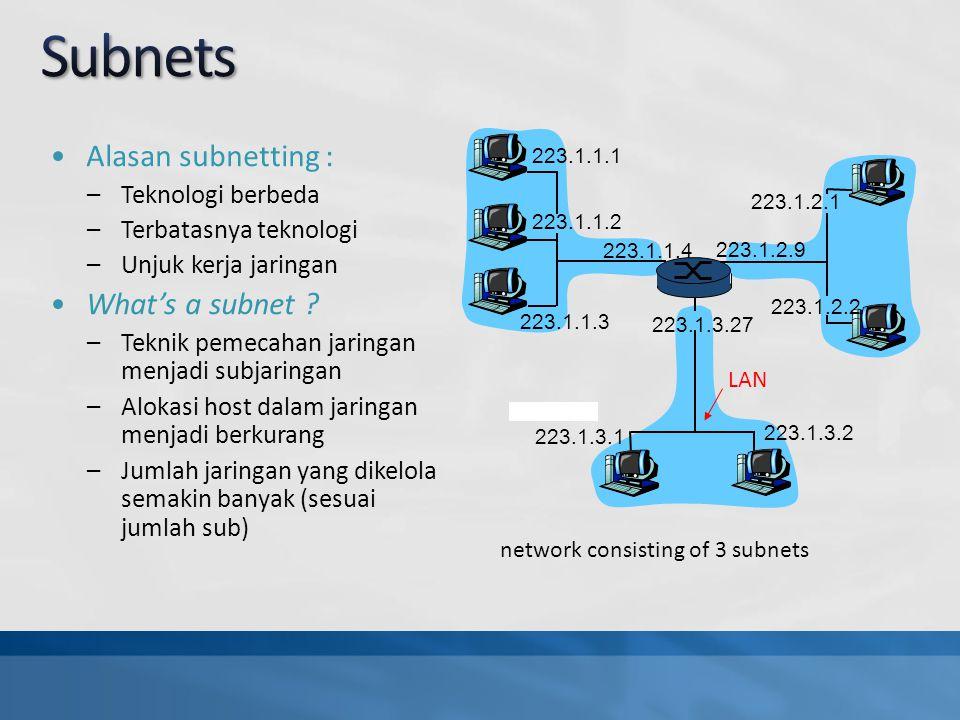 Alasan subnetting : –Teknologi berbeda –Terbatasnya teknologi –Unjuk kerja jaringan What's a subnet .